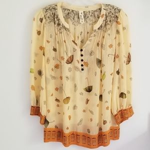 Anthropologie Floreat umbrella print silk top 8